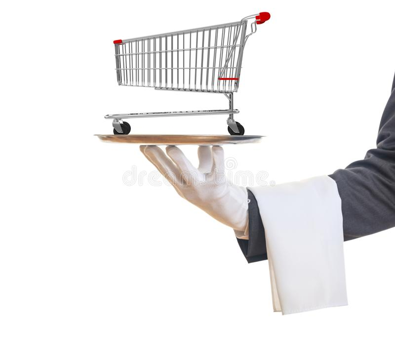 Gloved hand holding a silver platter with an empty shopping trolley, isolated on white background. 3d illustration. Shopping luxury service concept. Gloved hand royalty free stock photography