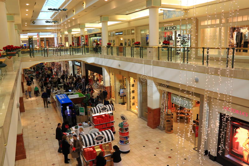 Shopping Mall. During Christmas holiday season in United States stock photography