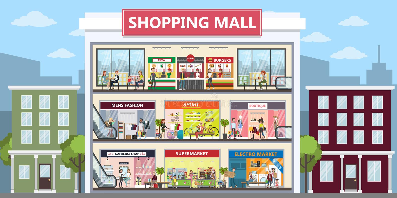 Shopping mall center. royalty free illustration