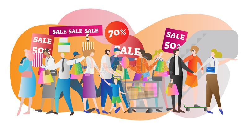 Shopping mall crowd vector illustration. Family in sale center and store. American lifestyle and buying sale stuff for money. royalty free illustration