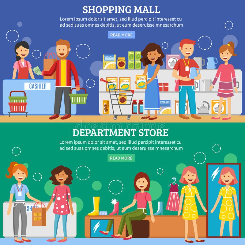 Shopping Mall Department Store 2 Banners vector illustration