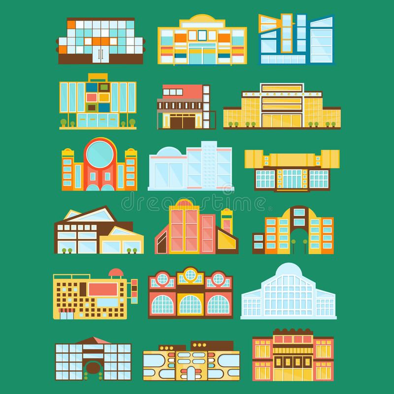 Shopping Mall, Department Store And Supermarket Shops Architecture Ideas Set stock illustration