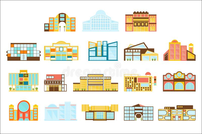Shopping Mall, Department Store And Supermarket Shops Architecture Ideas Set royalty free illustration