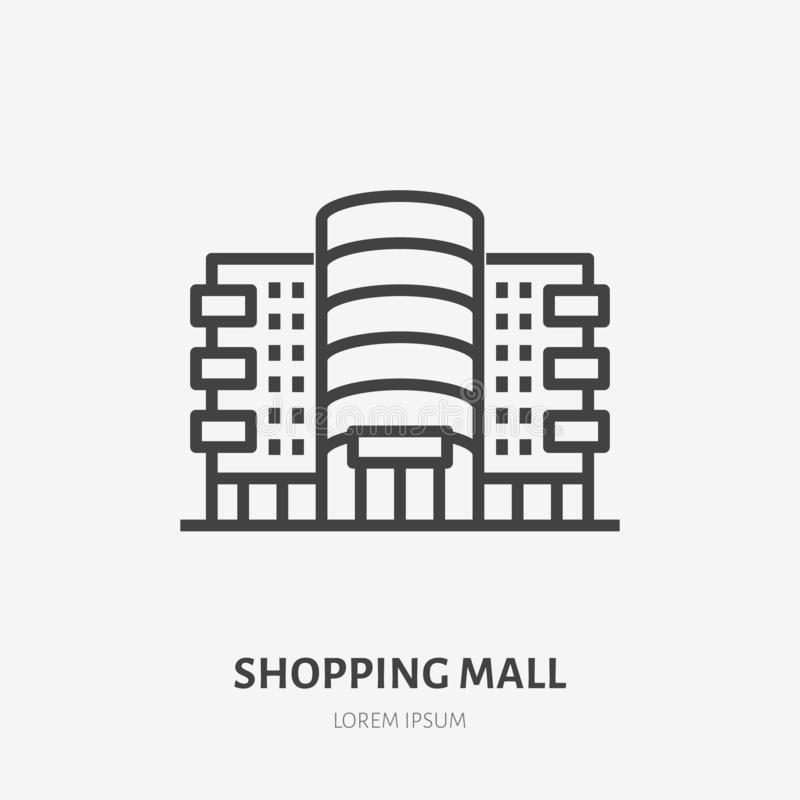 Shopping mall flat line icon. Vector thin sign of shop, store, commercial building rent logo. Supermarket exterior royalty free illustration
