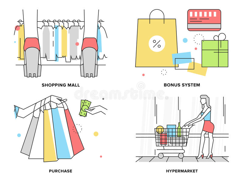 Shopping at mall flat line illustration. Flat line illustration set of woman shopping at hyper mall, supermarket discount and bonus system, paying for product vector illustration
