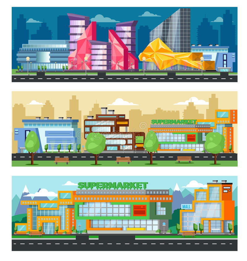 Shopping Mall Horizontal Banners. With cityscape of trade centers stores and supermarkets vector illustration royalty free illustration