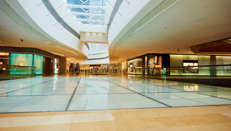 Shopping mall. Interior of modern business commercial building. Inside retail shopping mall center hall with fashion stores and shops stock photos