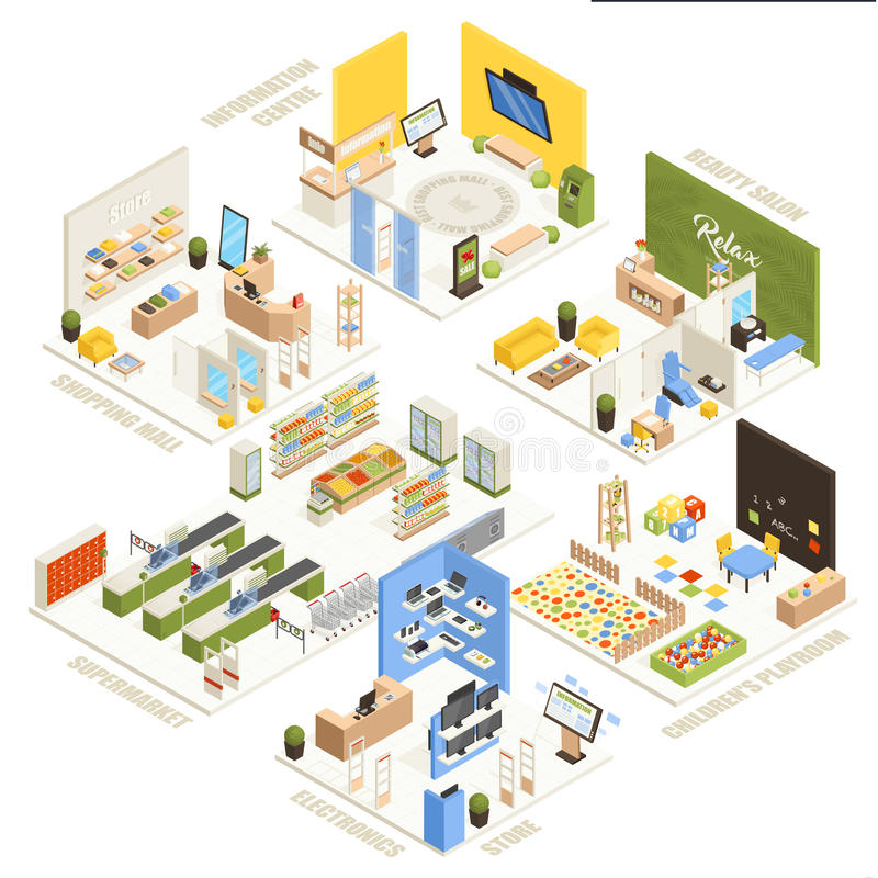 Shopping Mall Isometric Composition Poster. Shopping mall electronics store children playroom information center supermarket and beauty salon isometric stock illustration