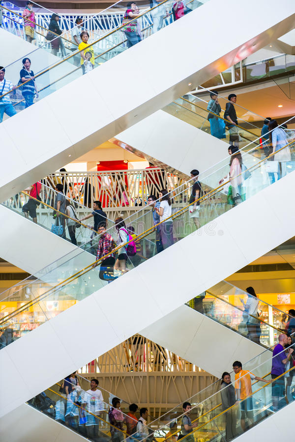 Shopping mall. KAOHSIUNG - TAIWAN, 18 OCTOBER 2013: Taiwan has many large department stores, a lot of people will come to this holiday shopping to buy things to stock image