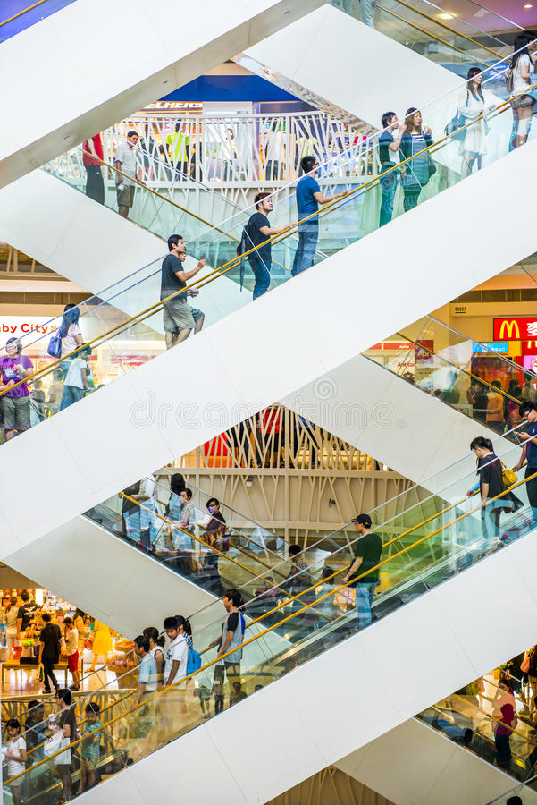 Shopping mall. KAOHSIUNG - TAIWAN, 18 OCTOBER 2013: Taiwan has many large department stores, a lot of people will come to this holiday shopping to buy things to royalty free stock photo