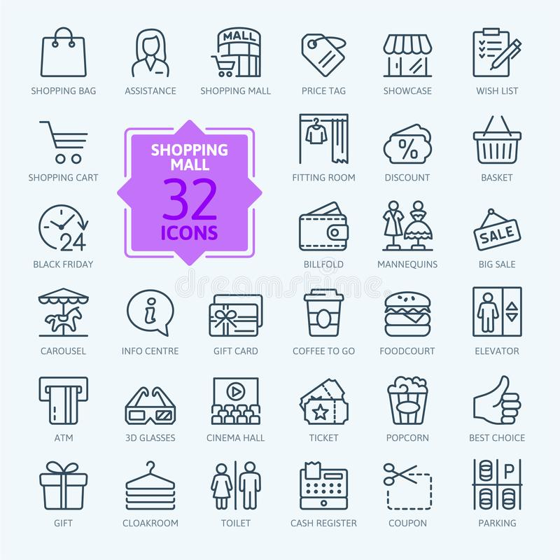 Shopping mall - minimal thin line web icon set. royalty free illustration