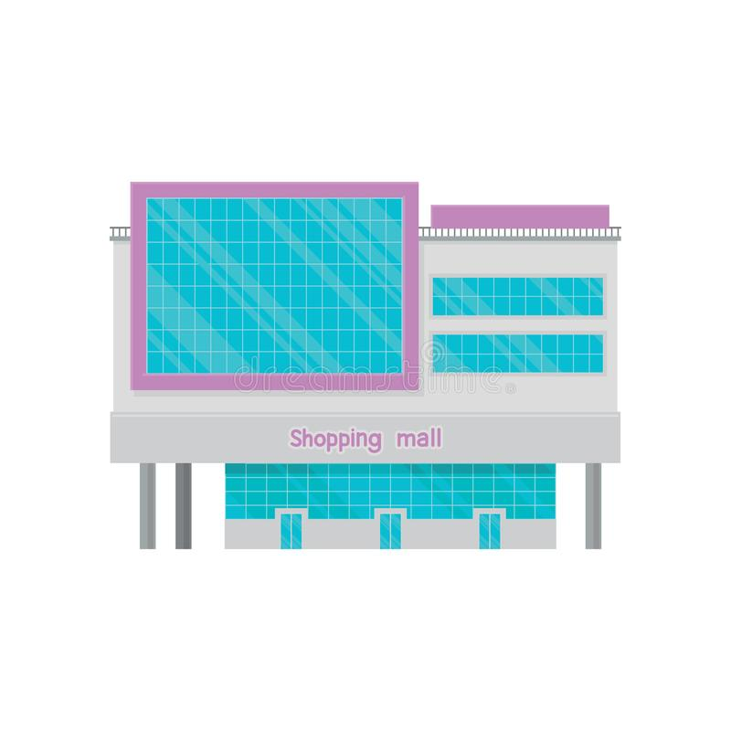 Shopping mall or office building facade with screen, modern city house cartoon vector Illustration royalty free illustration
