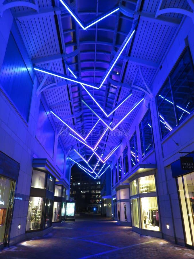 Shopping Mall Passageway at Night stock image