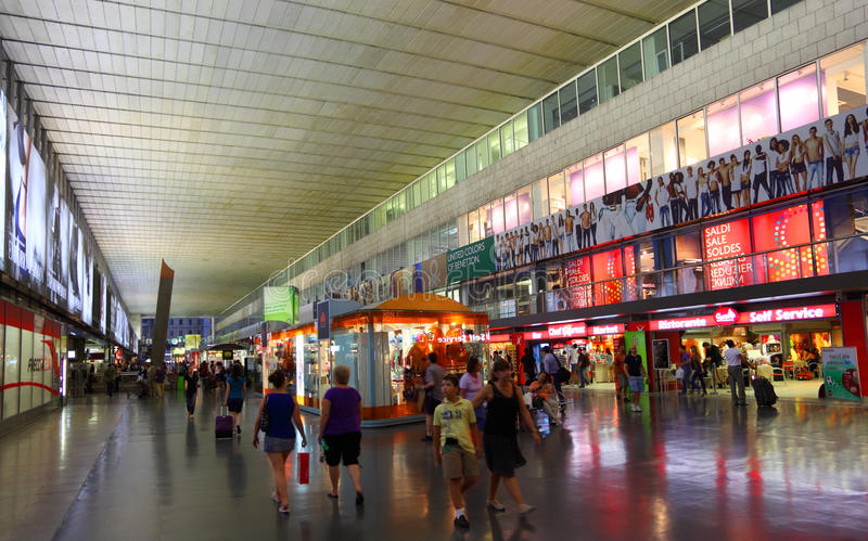 Shopping mall in Roma Termini railway station stock images