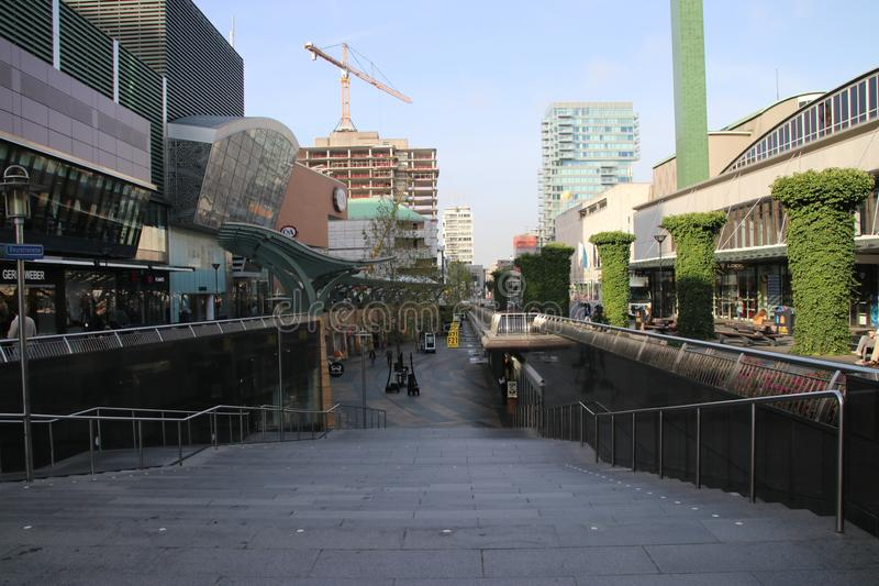 Shopping mall street below ground in Rotterdam known as the Koopgoot, in englisch buying alley. royalty free stock image