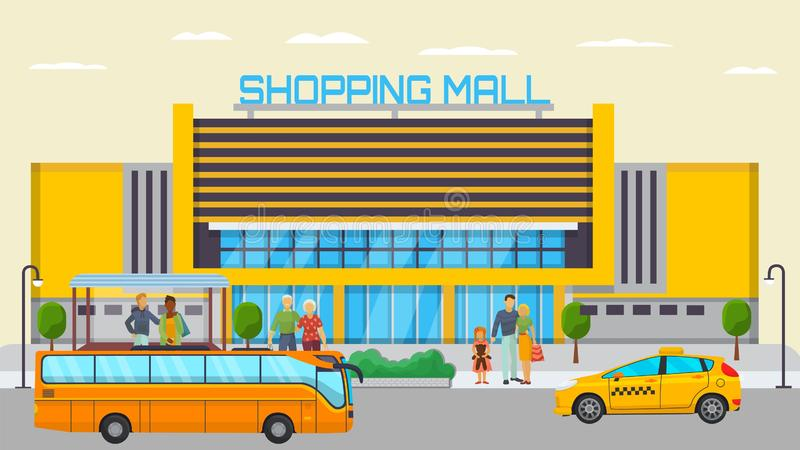 Shopping mall transport stop with different city people standing and waiting for transport vector illustration. Yellow royalty free illustration