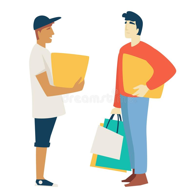 Shopping man with box or parcel and guy with bags or packs vector illustration