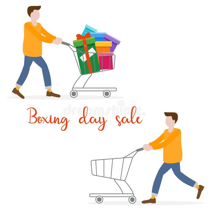 Shopping man. Boxing day sale. Special Offer stock illustration