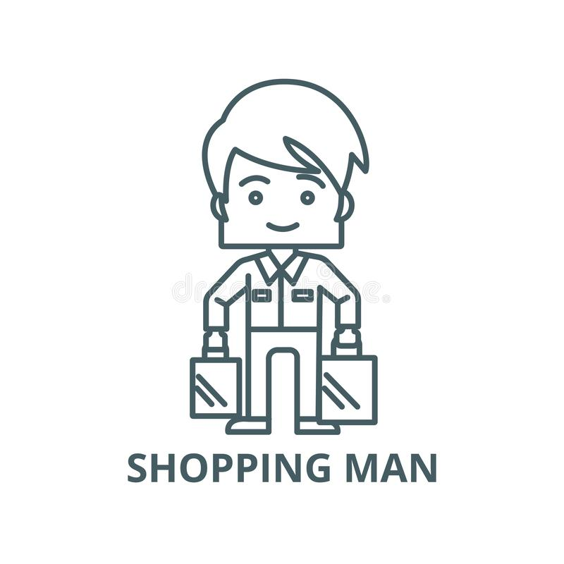 Shopping man taking bags vector line icon, linear concept, outline sign, symbol royalty free illustration