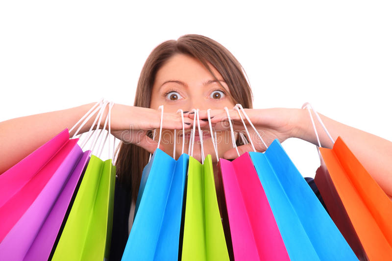 Shopping maniac royalty free stock image