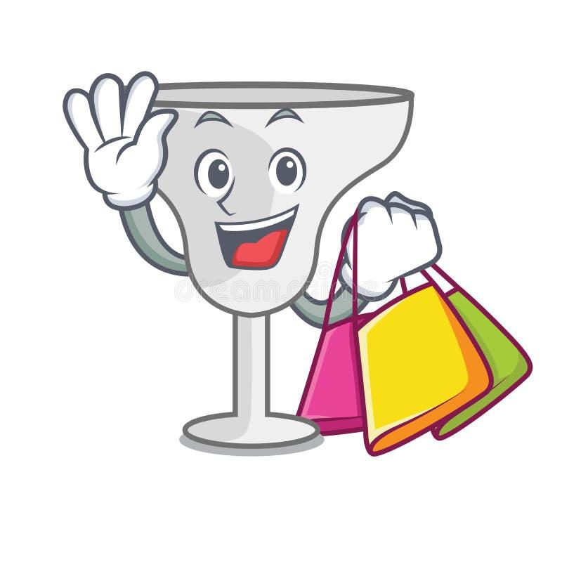 Shopping margarita glass character cartoon. Vector illustration stock illustration