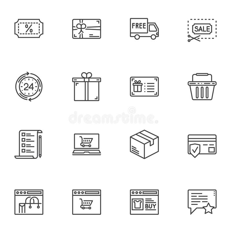 Shopping, marketing line icons set royalty free illustration
