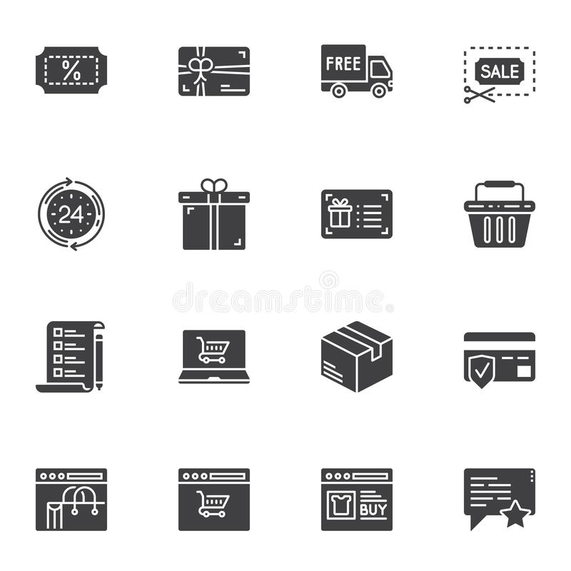 Shopping, marketing vector icons set stock illustration
