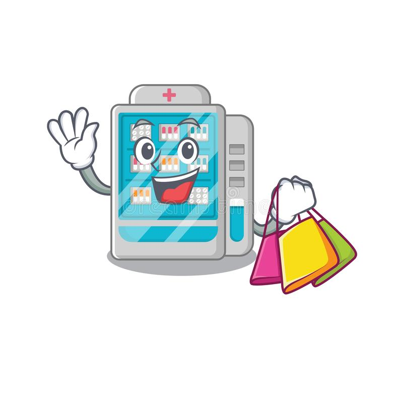 Shopping medicines vending machine in character shape royalty free illustration