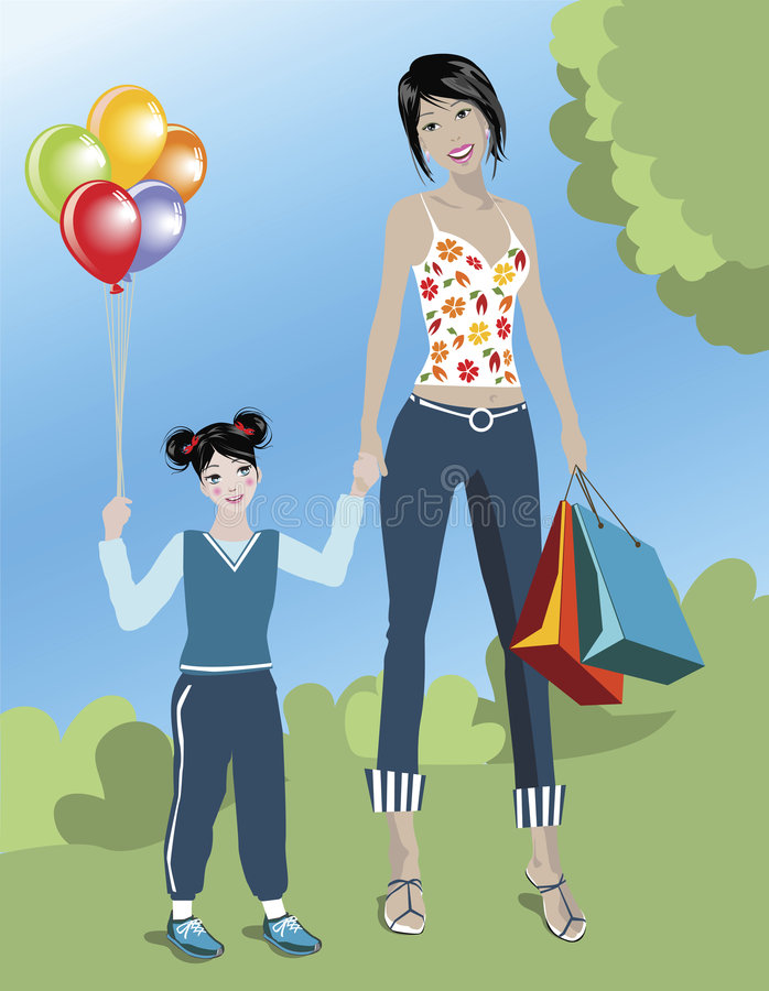 SHOPPING MOM stock images