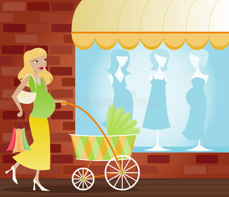 Shopping Mom To Be royalty free illustration