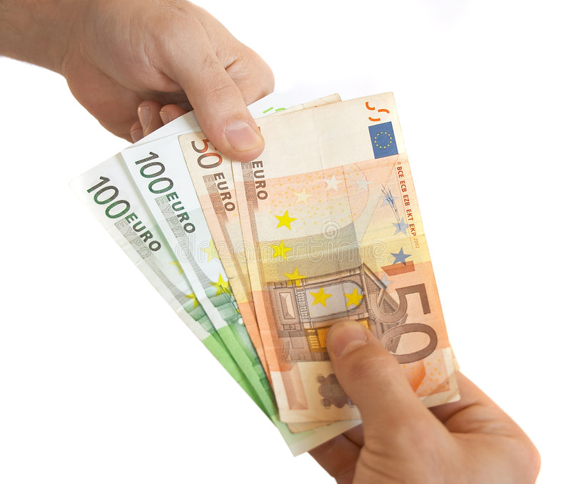 Shopping with money stock photography