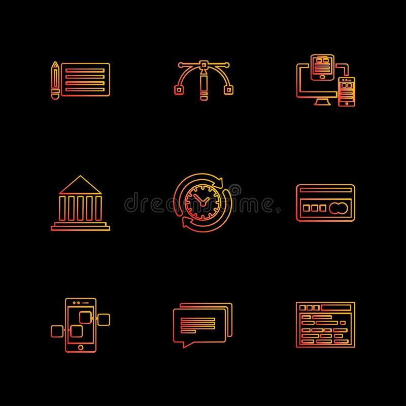 Shopping , money , bank , dollar, invoice , eps icons set vecto. Shopping , money , bank , dollar, invoice , idea , bulb, time , credit card , atm card stock illustration