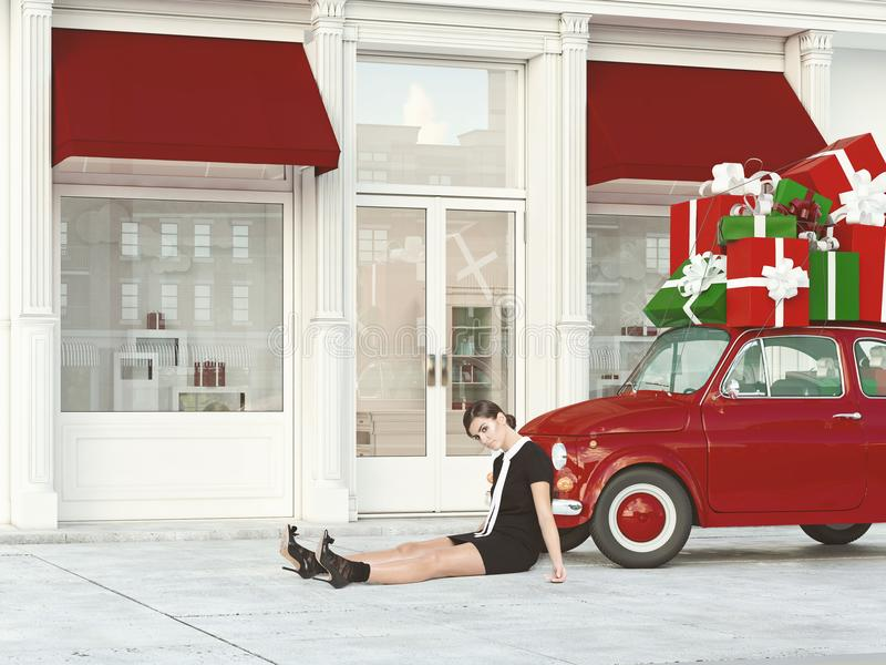 Shopping mood. 3d rendering. stock image