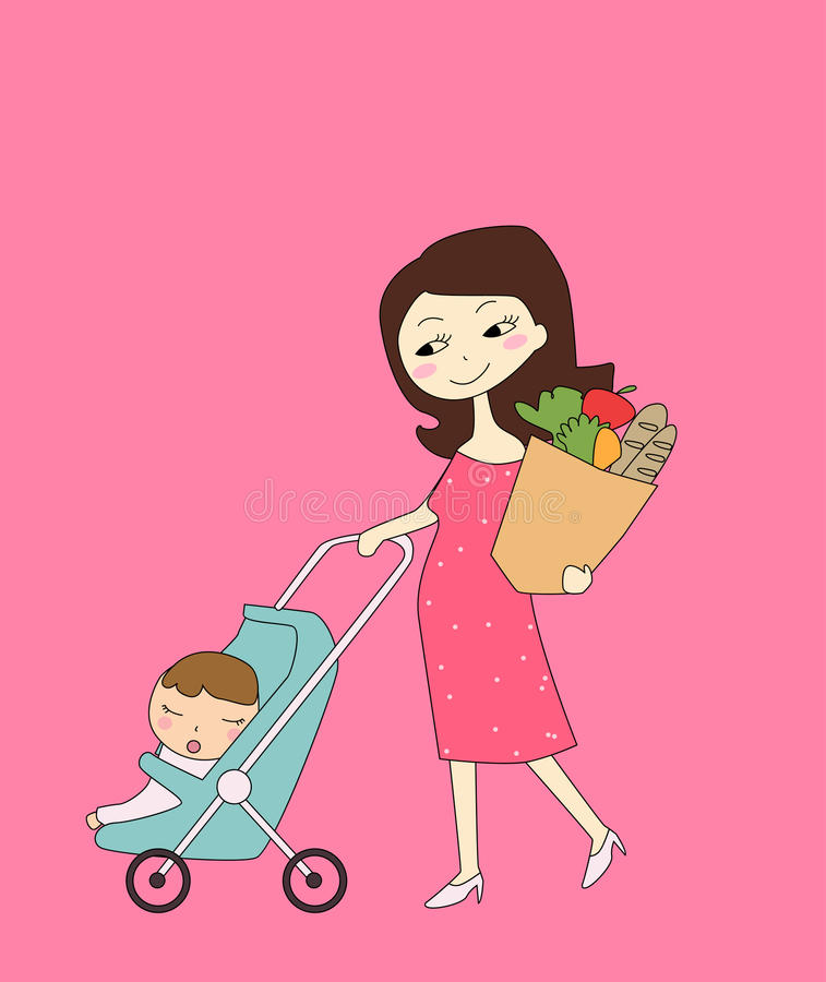 Shopping Mother And Baby Stock Photos