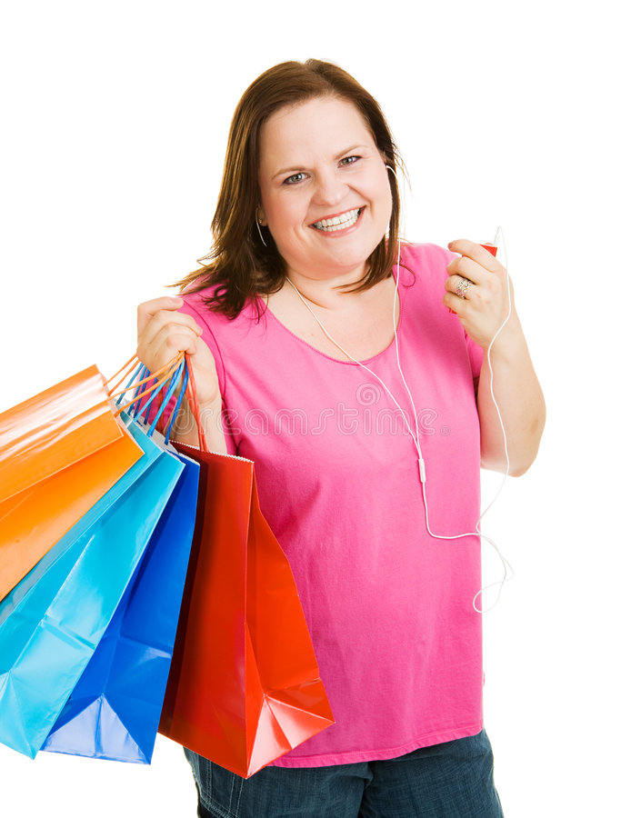 Download Shopping with Music stock photo. Image of casual, overweight - 5232046