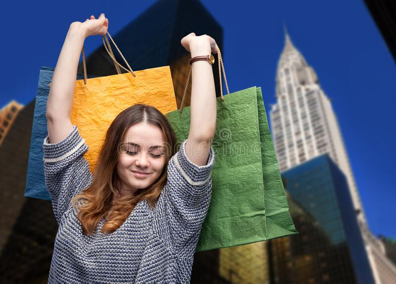 Shopping in New York City stock photography