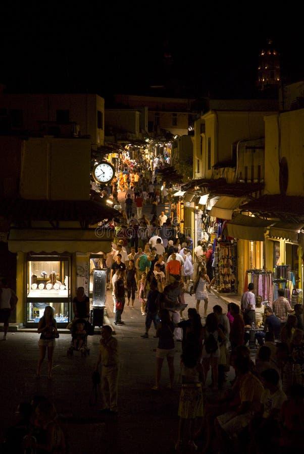 Shopping at night royalty free stock image