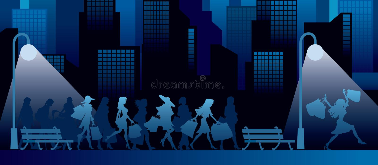 Download Shopping at night stock vector. Image of modern, buying - 13380736