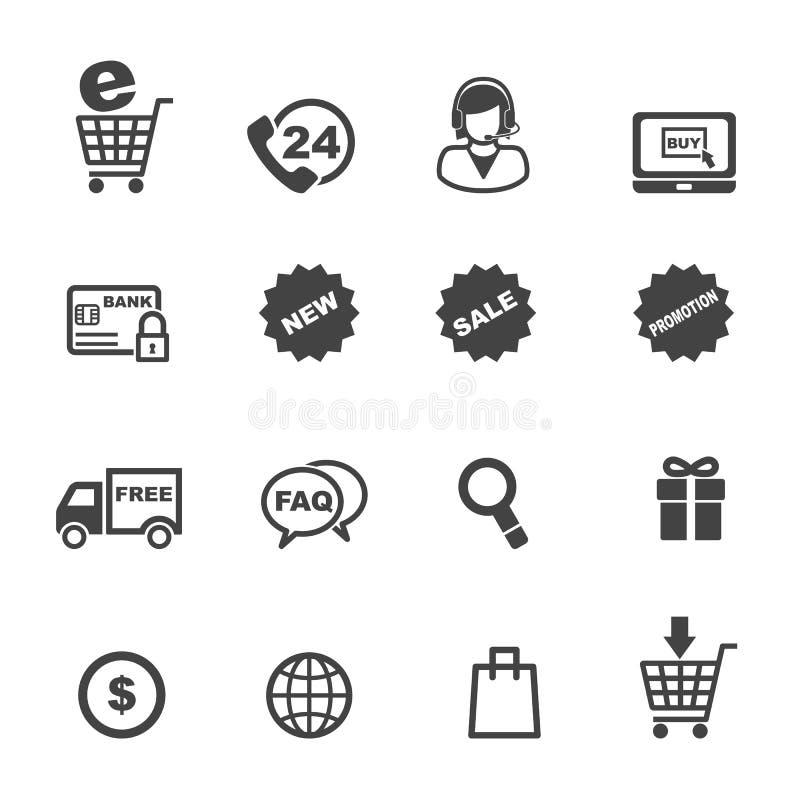 Shopping- och e-kommers symboler stock illustrationer