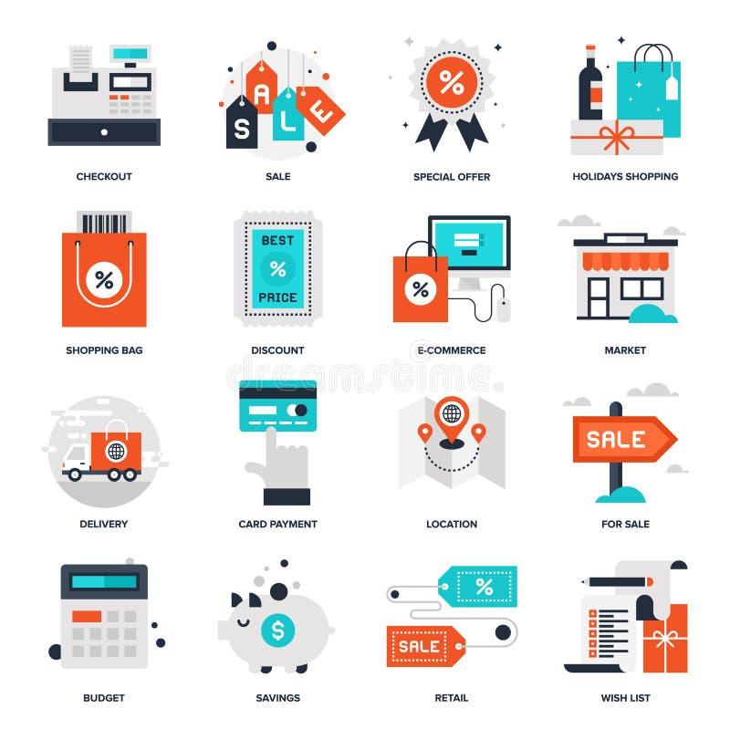 Shopping och kommers vektor illustrationer