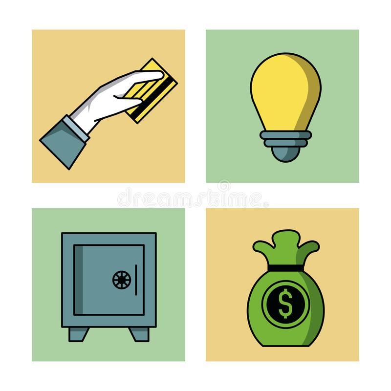 Shopping och kommerssymbolsuppsättning vektor illustrationer
