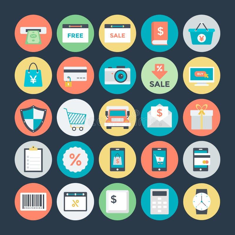 Shopping- och kommersvektorsymboler 2 royaltyfri illustrationer