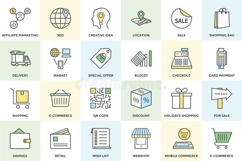 Shopping- och kommersvektorsymboler 1 vektor illustrationer