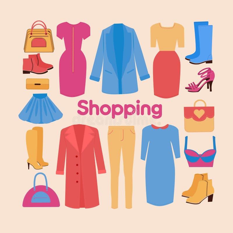Shopping och skönhetuppsättning i plan design stock illustrationer