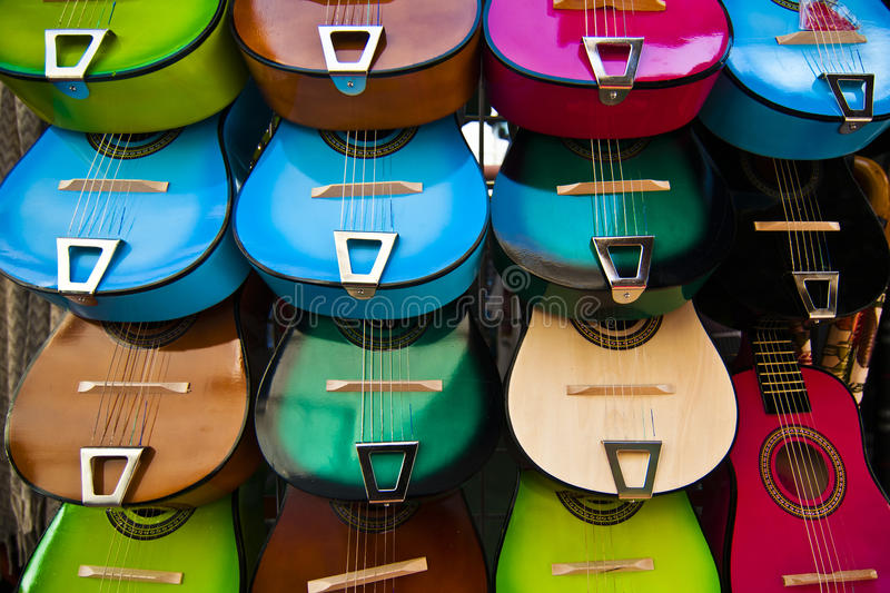 Shopping on Olvera Street. Color display of guitars at Olvera Street flea market royalty free stock photography