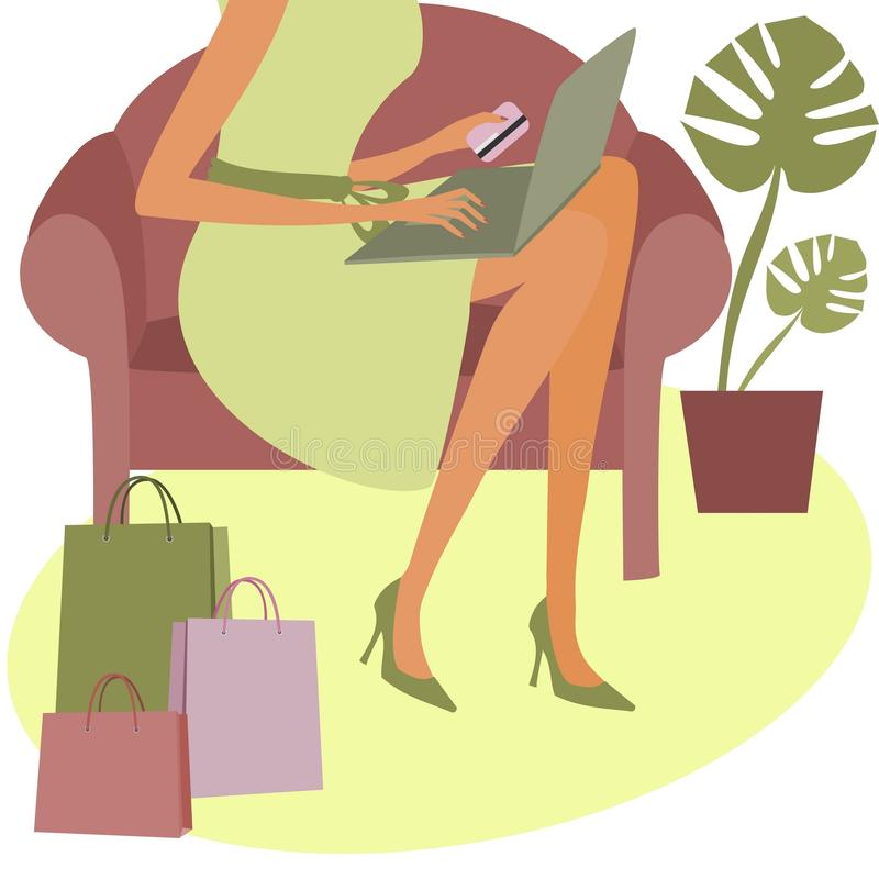 Shopping Online. Young woman holding a credit card while shopping on the internet royalty free illustration