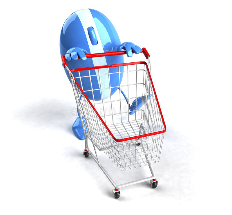 Shopping online. Fun optical mouse behind a shopping cart vector illustration