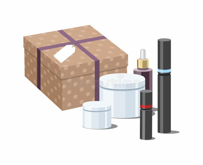 Shopping online concept.  Make Up products and Skincare Packaging with craft wrapped gift box. Vector Illustration royalty free stock image