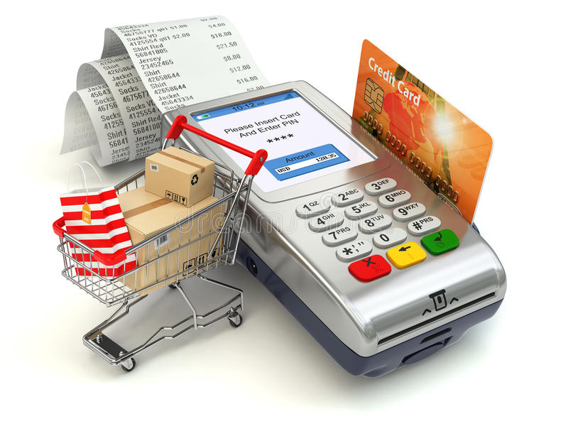 Shopping online concept. Pos terminal with credit card and shopping cart and bag with purchases. 3d stock illustration