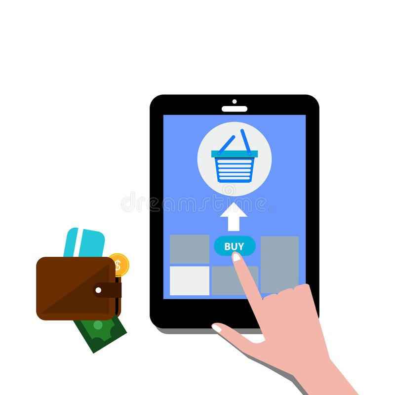 Shopping online concept represented by smartphone stock illustration